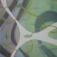 Yellow animal trapped in glass, Ausschnitt (Louise Rath, 2021, Siebdruckcollage, Stickerei)