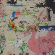 Avanti 1 (Louise Rath, 2021, Siebdruckcollage, Stickerei, 60x140cm)