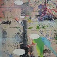 Avanti 3 (Louise Rath, 2021, Siebdruckcollage, Stickerei, 80x140cm)