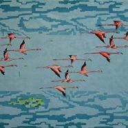 Flamingos digital (Louise Rath, 2020, Siebdruckcollage, 120x75cm)