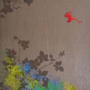 Jump! (Louise Rath, 2021, Siebdruckcollage, Stickerei, 70x125cm)