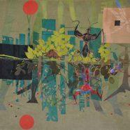 Moorstories (Louise Rath, 2021, Siebdruckcollage, Stickerei, 85x65cm)