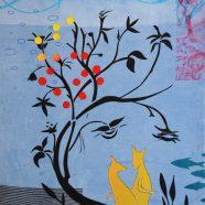 Louise Rath, 2021, Siebdruckcollage, Stickerei, 65x90cm