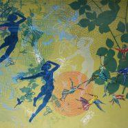 Summerday (Louise Rath, 2020, Siebdruckcollage, Stickerei, 110x75cm)