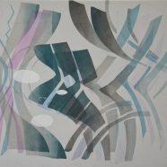 Through the jar (Louise Rath, 2021, Siebdruckcollage, Stickerei, 115x80cm)