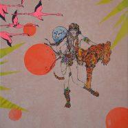 Tigerlilly (Louise Rath, 2021, Siebdruckcollage, Stickerei, 60x70cm)