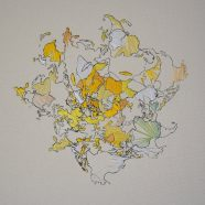 Scrambled earth (Louise Rath, 2021, Siebdruckcollage, Stickerei, 112x80cm)