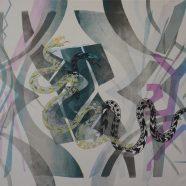 Snakes in light of glass (Louise Rath, 2021, Siebdruckcollage, Stickerei, 120x75cm)