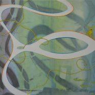 Yellow animal trapped in glass (Louise Rath, 2021, Siebdruckcollage, Stickerei, 117x80cm)